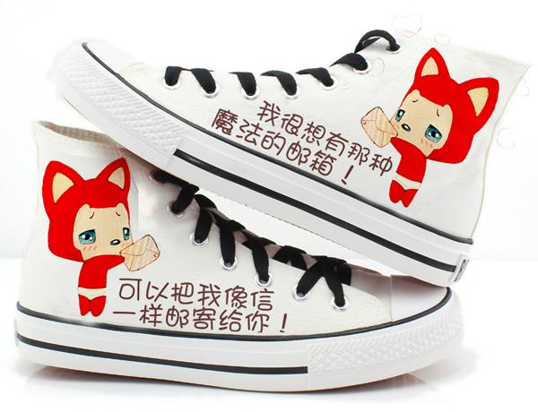 手绘情侣帆布鞋