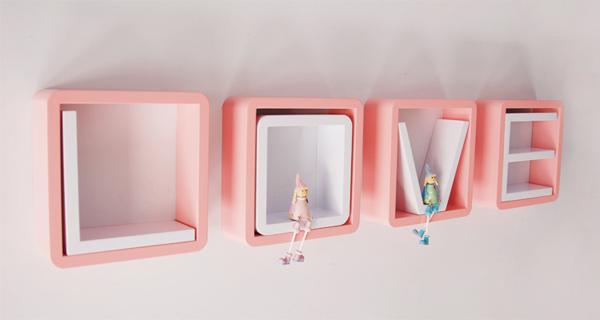 创意格子壁挂架粉白组合