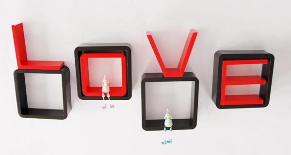 创意格子壁挂架红黑组合