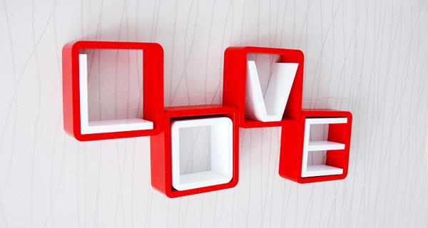 创意格子壁挂架红白组合