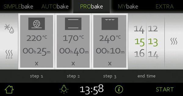 烤箱上的烹饪类型按钮