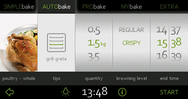 烤箱上烹饪过程显示