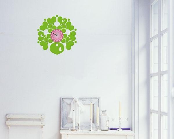 花朵样式的时钟墙贴实例