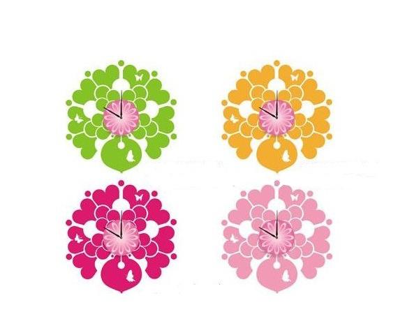 四种颜色花朵样式时钟墙贴