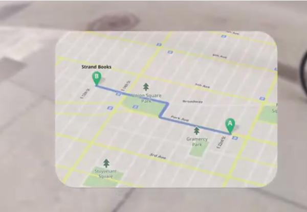 谷歌智能眼镜显示地图