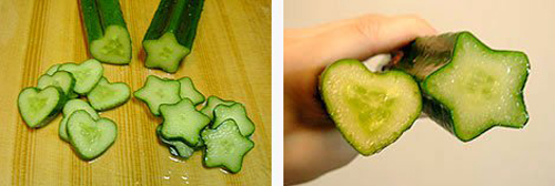 心形和五角星形的黄瓜
