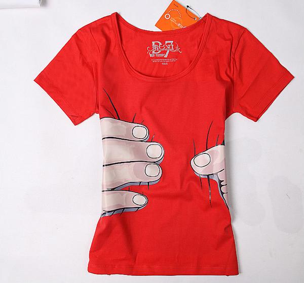 抓住你了个性印花T恤红色