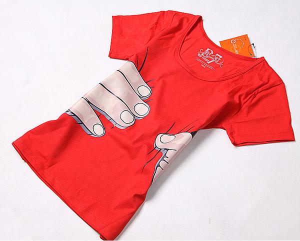 抓住你了个性印花T恤红色(二)