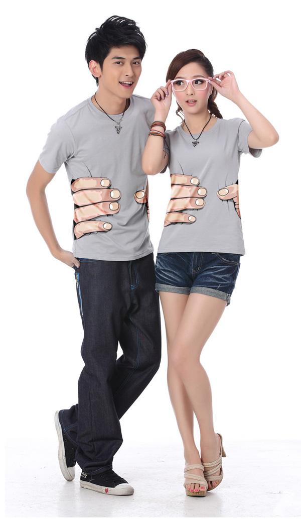 抓住你了个性印花T恤模特