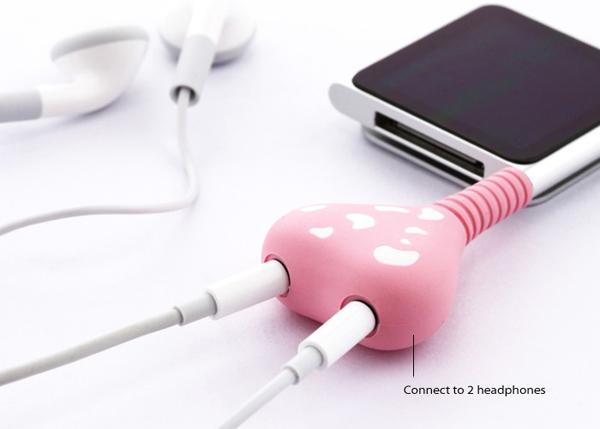 心形情侣耳机分享器