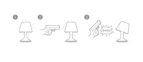 用手枪来击毙台灯使用方法