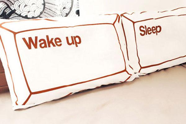 wake up&sleep 创意枕套