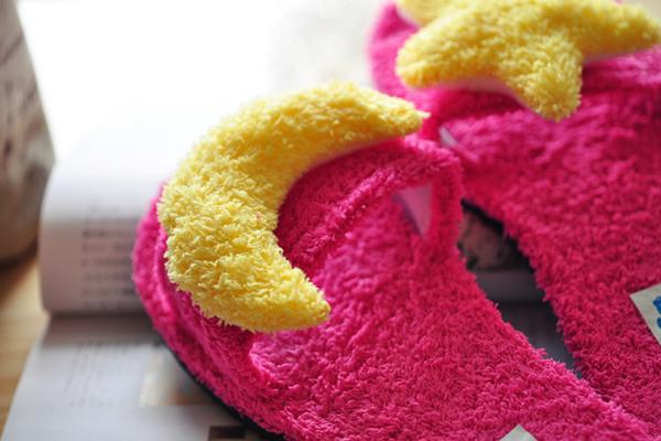 可爱星月柔软家居拖鞋粉红色