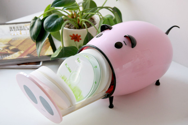 卡通猪CD收纳盒粉色