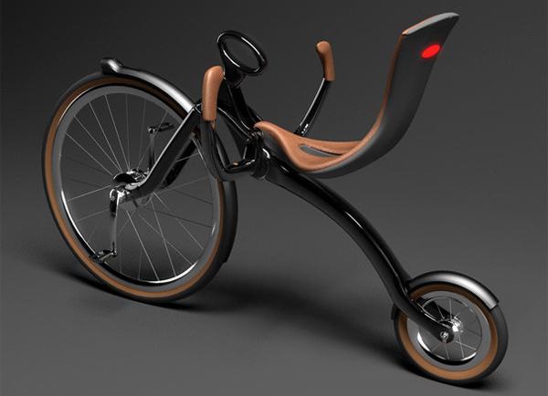 可折叠的复古自行车展开状态