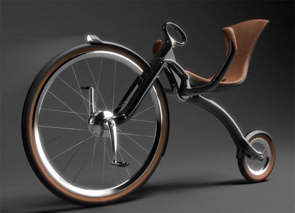 可折叠的复古自行车侧面展示