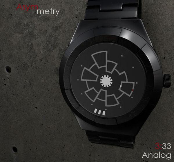 Asymmetry Analog 概念手表显示时间3:33