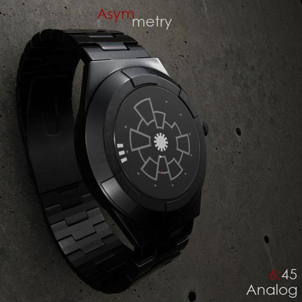Asymmetry Analog 概念手表显示时间6:45
