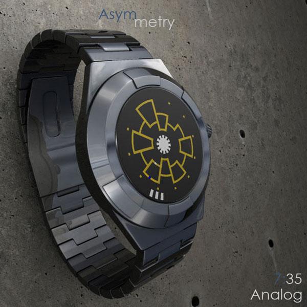 Asymmetry Analog 概念手表显示时间7:35