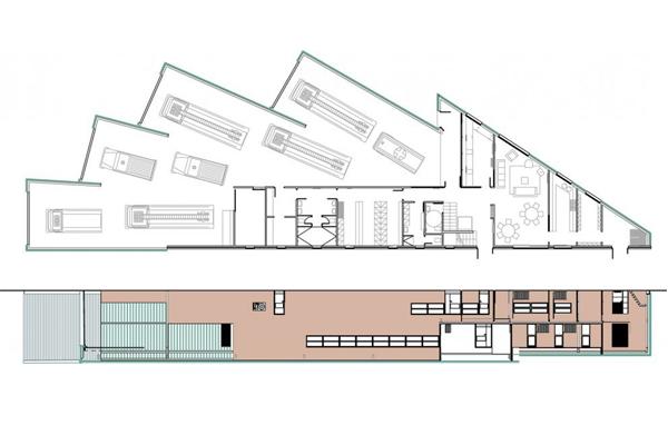 巴黎市中心的消防局建筑平面图