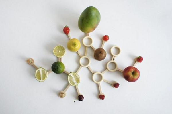 创意果盘组成的粒子图形(二)