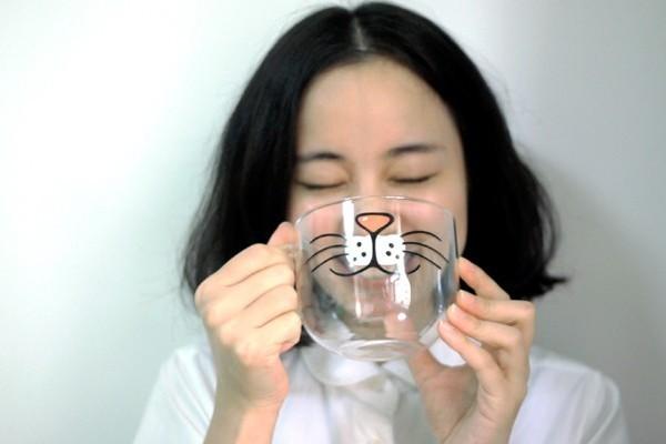 可爱圆形猫咪玻璃杯(三)