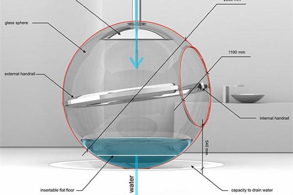 华丽的悬吊式玻璃球浴缸(二)