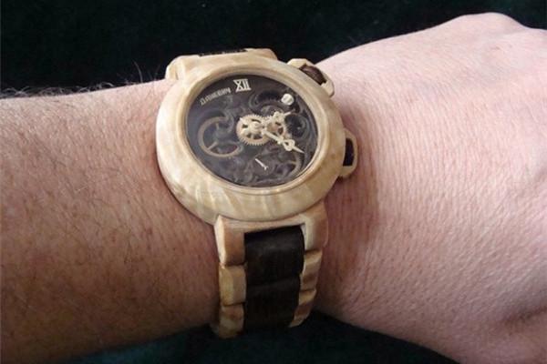手工帝的全木雕刻手表
