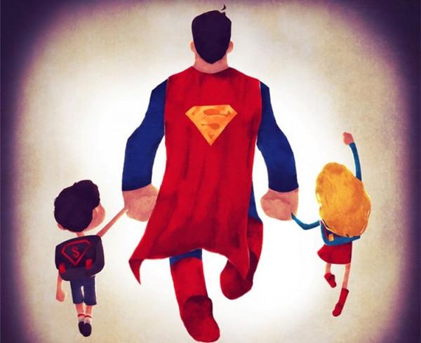 领孩子上学的超人英雄们