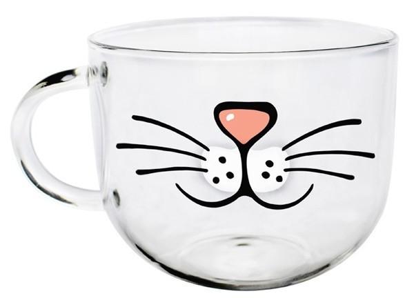 可爱圆形猫咪玻璃杯