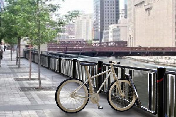 户外停自行车的栅栏