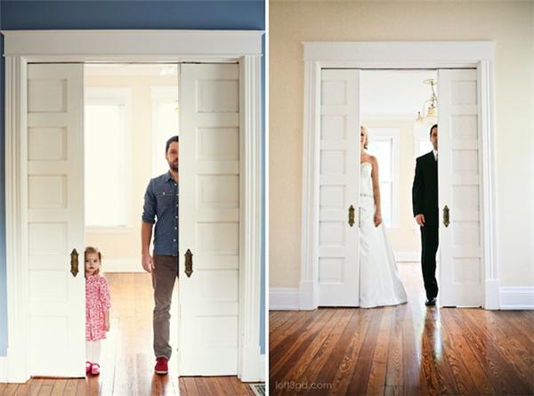父女为已故母亲复制婚纱照