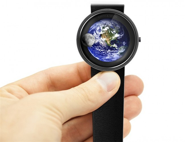 地球和月亮的浪漫手表