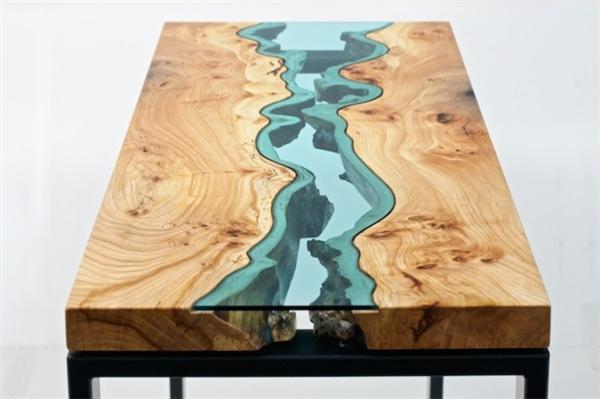 高端大气的玻璃河木桌
