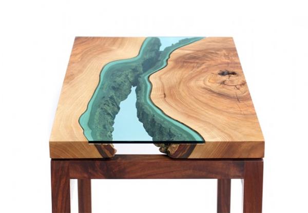 高端大气的玻璃河木桌(七)