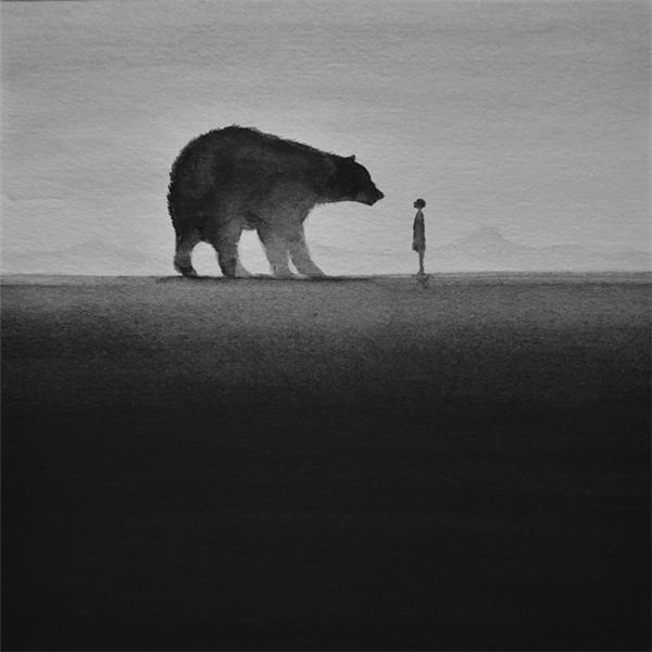 迷离梦幻的黑白水彩画