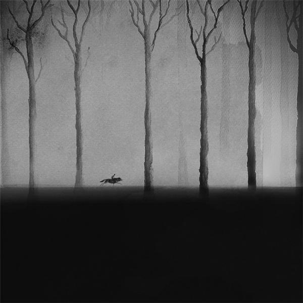 迷离梦幻的黑白水彩画(六)