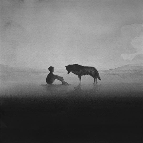 迷離夢幻的黑白水彩畫