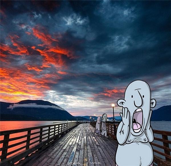 一片火烧云,画上小人,就是现实版的呐喊。