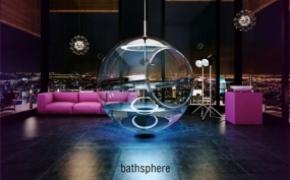 华丽的悬吊式玻璃球浴缸