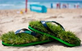 清凉绿色人造草鞋