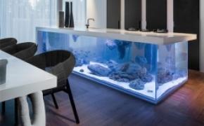 现代感十足的水族箱厨房